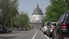 Washington DC Nations Capitol Building traffic taxi HD Stock Footage