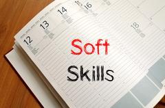 Soft skills write on notebook - stock photo
