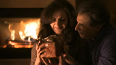 Portrait of couple with gift boxe Stock Footage