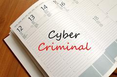 Cyber criminal write on notebook Kuvituskuvat