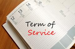 Term of service write on notebook - stock photo