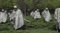 Washington DC park Korean War Veterans Memorial soldiers HD Stock Footage