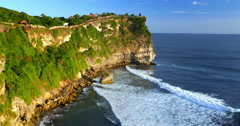Uluwatu temple panoramic landscape. Popular travel destination in Bali Indonesia Stock Footage