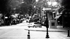 Black and White Main Street America Stock Footage