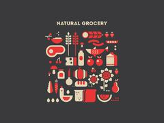Natural grocery food Stock Illustration