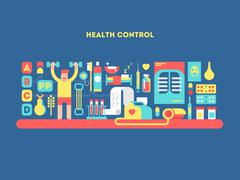 Health control design concept - stock illustration