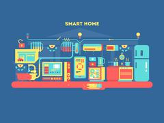 Smart home design concept - stock illustration