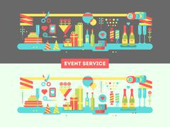 Event service design flat - stock illustration