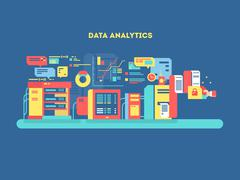 Data analytics design flat Stock Illustration