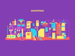 Shopping design flat concept - stock illustration