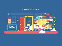 Cloud hosting design Stock Illustration