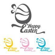vector Happy Easter Typographical Background - stock illustration