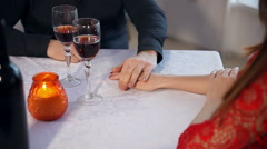 man and woman romantic love evening in restaurant drinking wine , Valentine's - stock footage