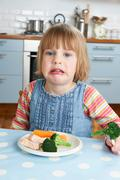 Fussy Child Not Eating Healthy Meal Stock Photos