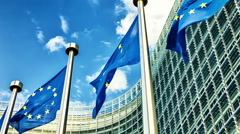 European Union flags in front of European Commission. Brussels, Belgium Stock Footage