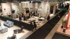 Crowd of people visiting the Stockholm Furniture and light fair exhibition Stock Footage