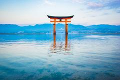 The Floating Torii gate in Miyajima, Japan - stock photo