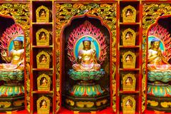 The image of buddha in buddha tooth relic temple in Singapore - stock photo