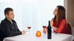man and woman romantic evening in love restaurant drinking wine , Valentine's - stock footage