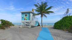 Lifeguard tower Hallandale Beach Stock Footage