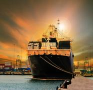 container ship in import export ship yard use for comercial freight, cargo an - stock photo
