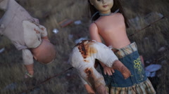 Doll Horror Psycho Smacking Doll POV Stock Footage