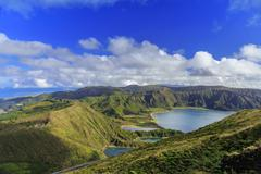 Lagoa do Fogo and green valley on San Miguel island - stock photo