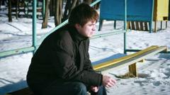 Lone Man Smoking Winter Snow Stock Footage
