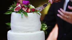 Cutting wedding cake - stock footage