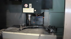 Control Panel CNC.  Machine milling, drilling  steel part. Panoramic - stock footage