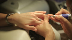Treatment side bolsters and cuticle area apparatus shot closeup Stock Footage