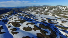 Cold Norwegian landscape from air Stock Footage