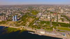 Aerial view Volga River bridges volgograd city Russia Stock Footage
