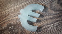 Signs of global currencies. Ice symbol euro - stock footage