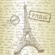 table top with sketching paper and eiffel tower - stock illustration