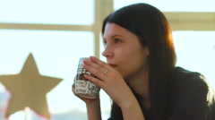In the cafe coffebreak beuty girl talking and smiling Stock Footage