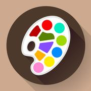 Stock Illustration of Palette icon with long shadow. Flat design style