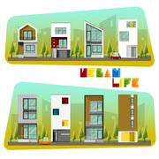 Houses collection Modern house and Community Stock Illustration