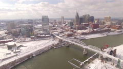 Nashville Snow- Slow move up of skyline and river Stock Footage