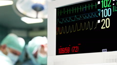 ECG Monitor in Operation Room - stock footage