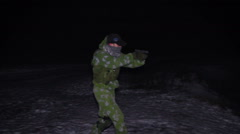 Military Man With The Handgun Searching in The night with flashlight scary Stock Footage