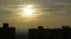 Golden Morning Sky In City Stock Footage