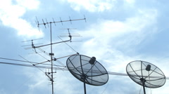 Satellite Dishes on rooftop Stock Footage