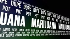 Marijuana and Slang Words Scrolling Stock Footage