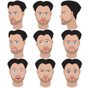 Set of variation of emotions of the same guy with beard Stock Illustration