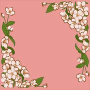 Ornament of pink apple flowers with green leaves Stock Illustration