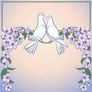 Two white doves and decor of blossoming apple tree Stock Illustration