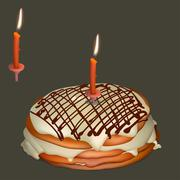 Sweet cake with butter cream and burning candle - stock illustration