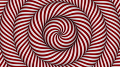 Stock Video Footage of hypnotic background with red and white concentric circles in motion