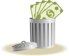 Trash bin with business signs Stock Illustration